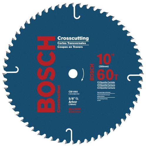 Bosch CB1060 10-Inch 60 Tooth ATB Crosscutting Saw Blade with 5/8-Inch Arbor