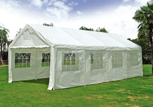 Partyzelt Pavillon Festzelt 4x8m, PE weiss mit Fenstern bestellen