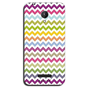 Mozine Green Pink Zigzag Pattern printed mobile back cover for Micromax canv...