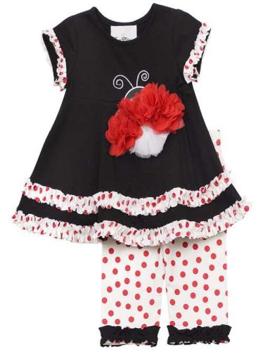 Rare Editions Girls Black / Red LadyBug Dress Outfit, 4 - 6X