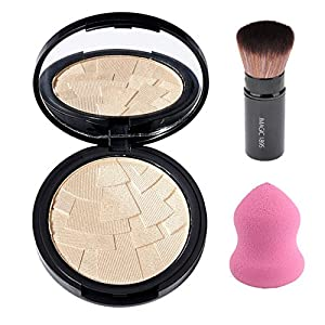 CCbeauty Illuminator Highlight Compact Powder Makeup Palette + Retractable Foundation Powder Cosmetic Makeup Blush Brush and Powder Blending Sponge,Makeup Powder and Brush Set