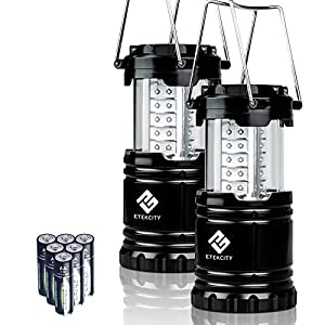 Etekcity 2 Pack Portable Outdoor LED Camping Lantern Flashlights with 6 AA Batteries (Black, Collapsible) Etekcity