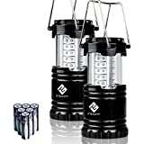 Etekcity 2 Pack Portable Outdoor LED Camping Lantern Flashlights with 6 AA Batteries (Black, Collapsible)