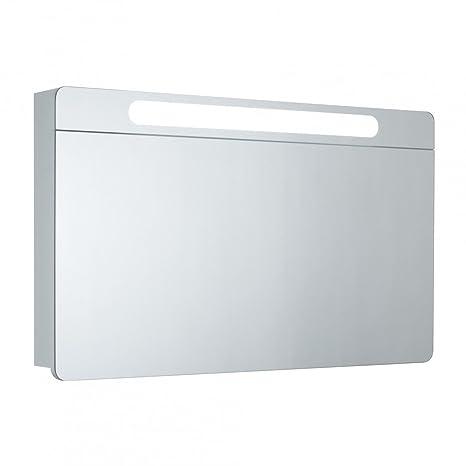 Galdem - Armadietto da bagno VERTICO100 con specchio, a un'anta, illuminazione con lampada a fluorescenza T5, include cerniere Ferrari e presa elettrica, adatto come specchio per il bagno, dimensioni 100 cm