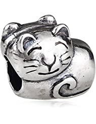 Smiling Cat Charm Antique 925 Sterling Silver Animal Bead For European Bracelet Jewelry