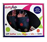 Dotty Fish Leather Baby Shoes Girls Navy Spotty design Gift Boxed with two Bandana Bibs 6-12 mths