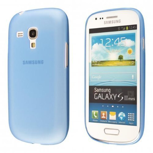 ECENCE Samsung Galaxy S3 mini i8190 i8200 slim case schutz hülle handy tasche dünn flach leicht cover schale blau 24040301