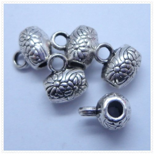 Tibetan silver Flower Carved Drum Charm Loose Beads Findings 10Pcs (10mm x 10mm)