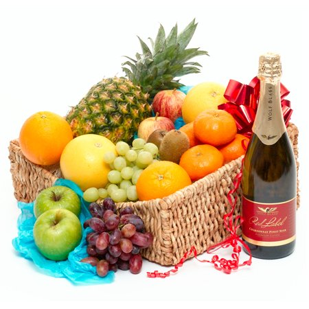 luxury fruit hamper with fizz