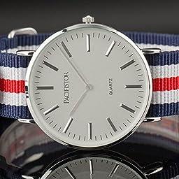 Balck+Whitenylon Band Police Style Mens Analog Quartz Wrist Watch Sport Army Fashion Gift
