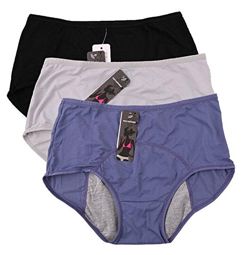 Donne fori Mesh traspirante Periodo di tenuta stagna di mutandine Mulit pack Size:36-44 (36, Blu,Black,grigio)