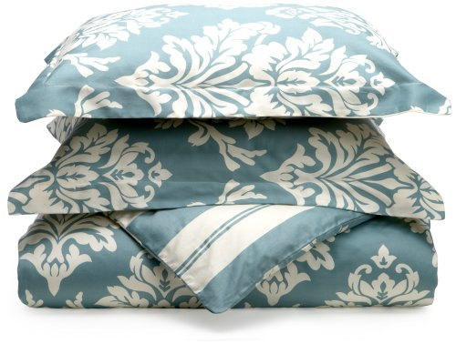 Regency Collection 300 Thread-Count Havana Reversible Floral/Stripe King Duvet Set, Waterblue