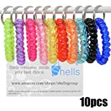 Shells® 10PCS Bright Colorful Plastic Spiral Coil Wrist Band Key Ring Chain For Office, Classroom,Sauna And Shopping mall