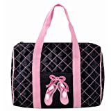 Danshuz Womens Girls Pink Quilted On Pointe Black Satin Duffle Bag, Bags Central