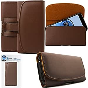 iTALKonline Motorola Moto Z Play / Droid Brown PREMIUM PU Leather Horizontal Executive Side Pouch Case Cover Holster with Belt Loop Clip and Magnetic Closure