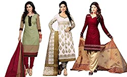 Sancom Combo pack of three colors (Light Green,White,Maroon) UnStitched Art Silk Dress Material