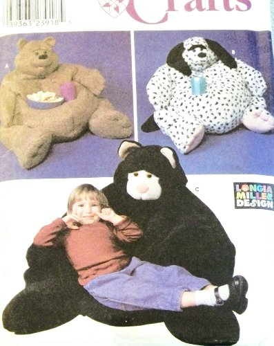 OOP Simplicity Craft Pattern 9229. Child Size Animal Bean Bag Chairs. Bear; Dog; Cat Designs