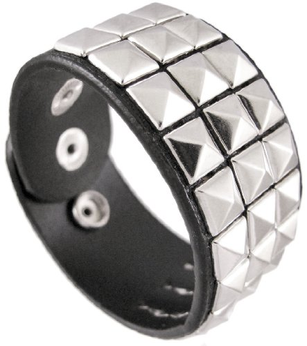 3 Row Chrome Pyramid Studded Vinyl Wristband Vegan