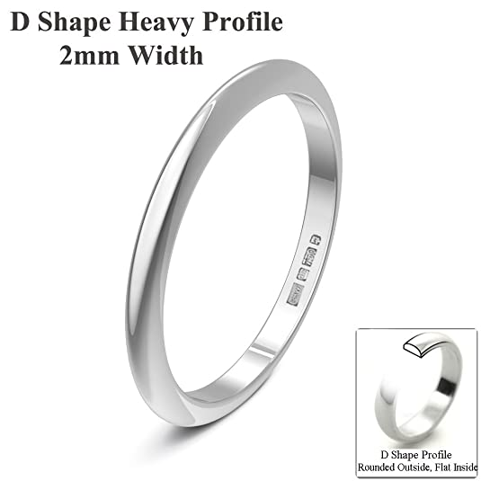 Xzara Jewellery - 9ct White 2mm Extra Heavy D Shape Hallmarked Ladies/Gents 1.9 Grams Wedding Ring Band