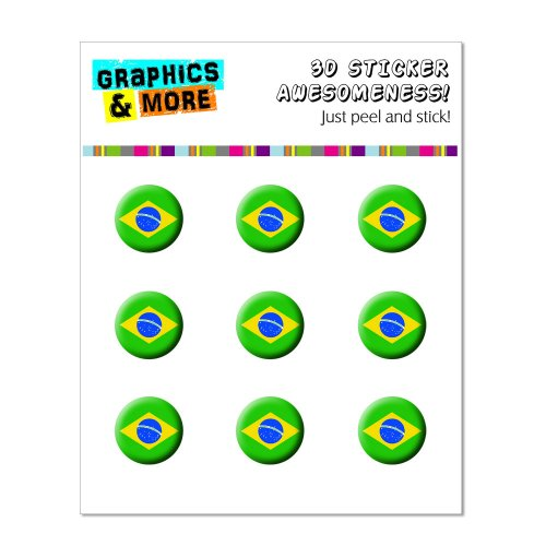 Graphics and More Brazil Flag Home Button Stickers Fits Apple iPhone 4/4S/5/5C/5S, iPad, iPod Touch - Non-Retail Packaging - Clear