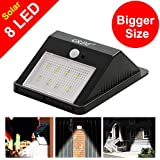 [Bigger 8 Led] GRDE® 160 Lumens Wireless Solar Motion Sensor Light;Bigger Size Brighter Diamond Pattern Waterproof Security Light - Detector Activated;Solar Lights ,Path Lights for Patio - Deck - Garden - Courtyard - Outside Wall (1 Pack)