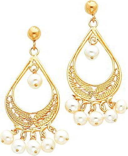 14K Gold Cultured Pearl Chandelier Earrings Jewelry