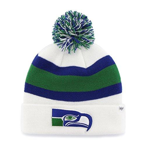 Seattle-Seahawks-White-Cuff-Breakaway-Beanie-Hat-with-Pom-NFL-Cuffed-Winter-Knit-Toque-Cap