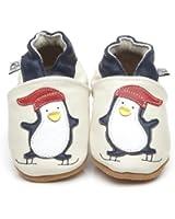 Chaussons Bébé en cuir doux Crème Pingouin 6/12 mois