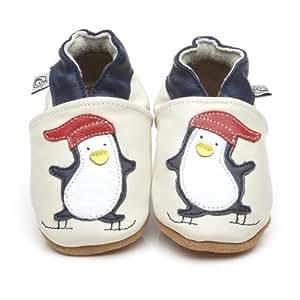 Chaussons Bébé en cuir doux Crème Pingouin 18/24 mois
