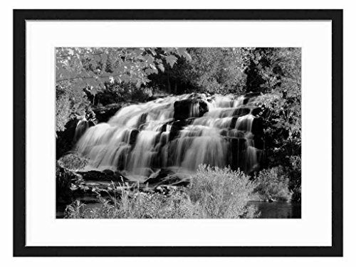 Bond Falls - Art Print Wall Solid Wood Framed Picture (Black & White 20x14 inches)