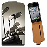 Golf Clubs in Golf Bag Ready to Play Leather Flip Case Cover for Apple iPhone 4 / iPhone 4S