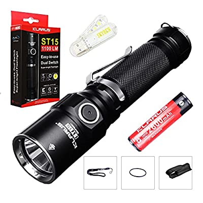 Bundle: Klarus ST15 CREE XP-L HI V3 LED 1100 Lumens Watereproof Flashlight With 18650 Rechargeable Battery and Skyben USB Light from Klarus Co,.Ltd