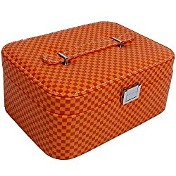 UberLyfe Double Level Jewellery Box cum Organizer - Red and Yellow Checks - L (JB-000977-ORCK-L)