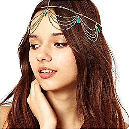 Baishitop Women Chain Headband, Imitation Turquoise Headpiece Hair Band (Arabian Head Bands compare prices)