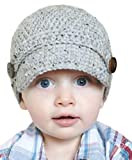 BePe Baby Crochet Beanie Hat with Brim - XX Small (0-3 Months) Gray