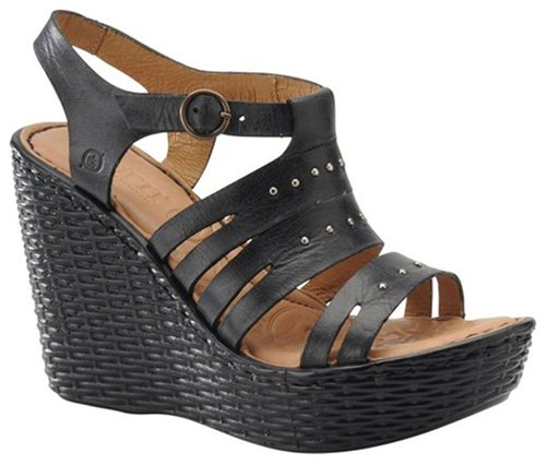 Born Womens Goldie Black Sandal Wedge/Shoes US 10