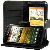 ECENCE HTC One S Custodia a Portafoglio Protettiva wallet case cover + protezione dello schermo incluso nero 12040207