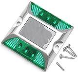 6 LED 道路 鋲 路肩 標 誘導 灯 ソーラー 充電 式 セット ( 点滅 緑 1個 + 固定用 ビス 3本 )