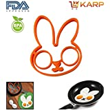 KARP™ Rabbit Shape Silicone Fried Egg Mold Pancake Rings, Non Stick Bakeware Accessories Kitchen Tools,BPA Free...