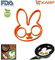 """KARPâ""""¢ Set Of 2 Rabbit Shape Silicone Fried Egg Mold Pancake Rings, Non Stick Bakeware Accessories Kitchen Tools,BPA free, FDA approved, 100% food grade silicone - Orange"""