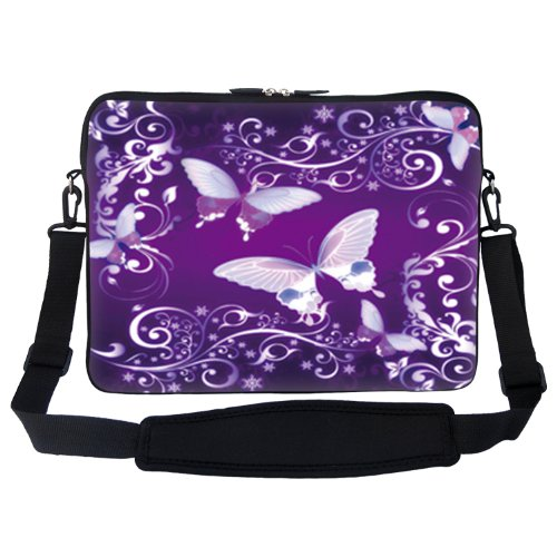 17 inch Purple Butterfly Design Laptop Sleeve