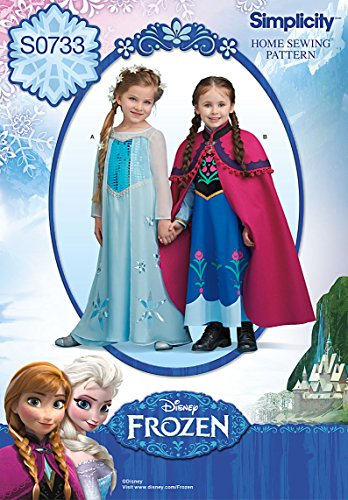 Simplicity Creative Patterns S0733 Disney's Frozen Pattern Costume for Children, A(3-4-5-6-7-8)