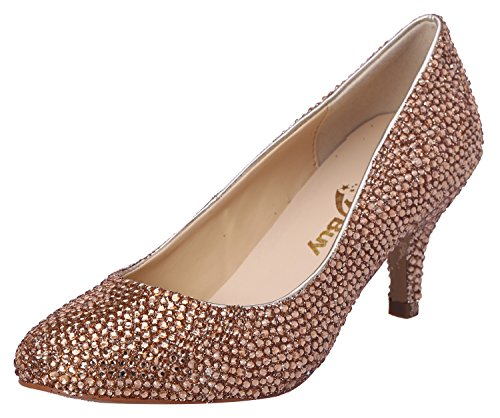 Honeystore Women'S Rhinestone Low Heel Sheepskin Pump Gold 9 B(M) Us back-413784