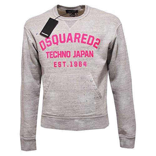 2932Q felpa uomo DSQUARED D2 cotone grigio sweatshirt men [XL]