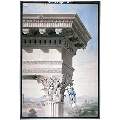 Greetings Card: 'A Student on a ladder measuring a Corinthian capital at the Temple of Jupiter Stator, Rome' by Henry Parke