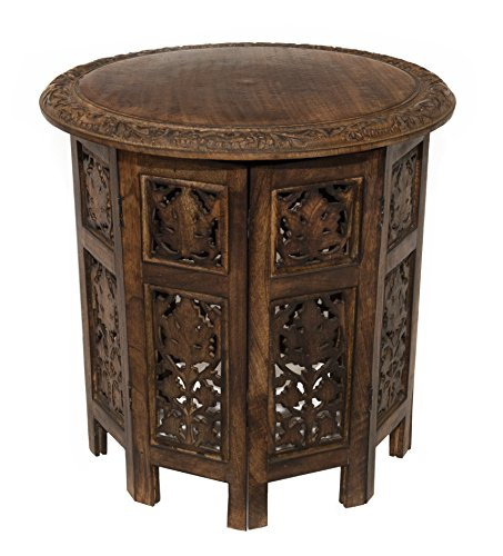 Cotton Craft Jaipur Solid Wood Hand Carved Accent Coffee Table - 18 Inch Round Top x 18 Inch High - Antique Brown (Accent Coffee Table compare prices)