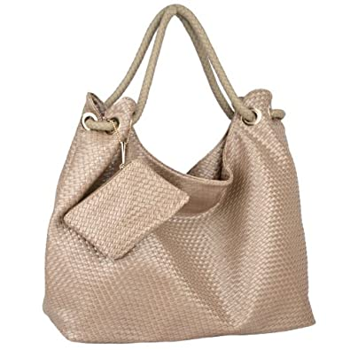 MG Collection VONETTA Large Pewter Embossed Woven Hobo Shoulder Bag w/Mini Purse