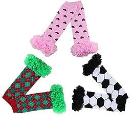 Joyci 3-pair Infant Baby Kids Tutu Ruffles Leg Warmer Toddler Girls Leggings (AH)