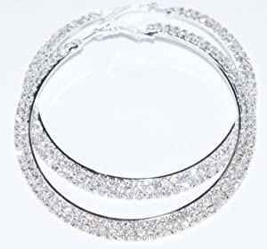 Dazzling Silver Tone 2 Row Crystals Rhinestones Hoop Earrings 50mm in Width