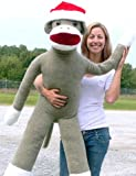 American Made Huge Plush Sock Monkey 54 Inches Soft Wears Removable Christmas Santa Hat Made in the USA America